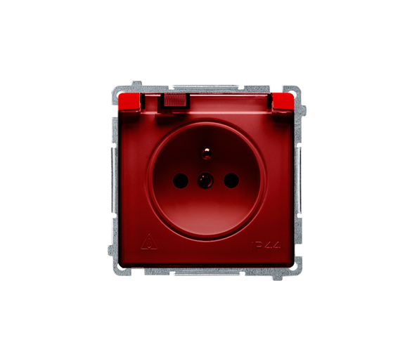 Gniazdo wtyczkowe pojedyncze w wersji IP44 z przesłonami torów prądowych -  klapka w kolorze transparentnym czerwony 16A BMGZ1BZ