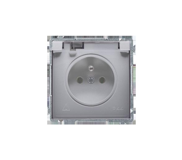 Gniazdo wtyczkowe pojedyncze w wersji IP44 z przesłonami torów prądowych -  klapka w kolorze transparentnym inox, metalizowany 1