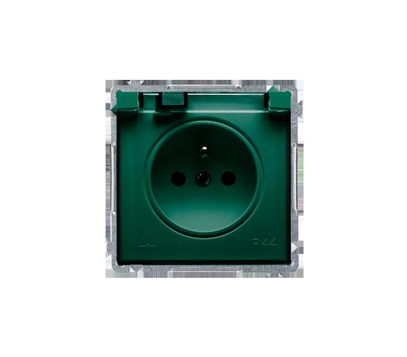 Gniazdo wtyczkowe pojedyncze w wersji IP44 z przesłonami torów prądowych -  klapka w kolorze transparentnym zielony 16A BMGZ1BZ.