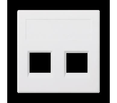 Plakietka teleinformatyczna SIMON 500 NEXANS podwójna bez osłon płaska 50×50mm czysta biel 50018189-030