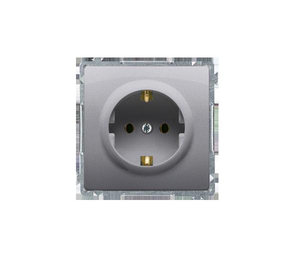 Gniazdo wtyczkowe pojedyncze z uziemieniem typu Schuko z przesłonami torów prądowych inox, metalizowany 16A BMGSZ1Z.01/21