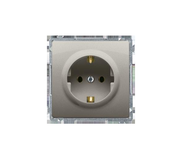 Gniazdo wtyczkowe pojedyncze z uziemieniem typu Schuko z przesłonami torów prądowych satynowy, metalizowany 16A BMGSZ1Z.01/29