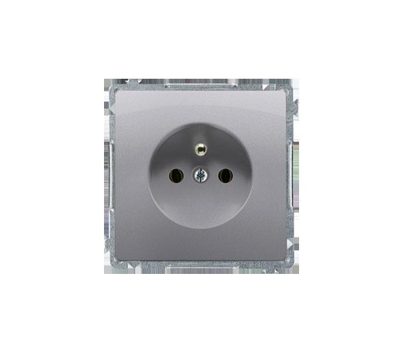 Gniazdo wtyczkowe pojedyncze z uziemieniem z przesłonami torów prądowych inox, metalizowany 16A BMGZ1Z.01/21