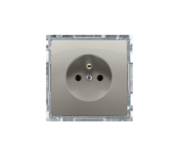 Gniazdo wtyczkowe pojedyncze z uziemieniem z przesłonami torów prądowych satynowy, metalizowany 16A BMGZ1Z.01/29