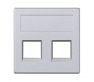 Plakietka teleinformatyczna SIMON 500 NEXANS podwójna bez osłon płaska 50×50mm aluminium 50018189-033