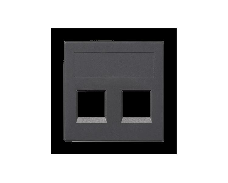 Plakietka teleinformatyczna SIMON 500 NEXANS podwójna bez osłon płaska 50×50mm szary grafit 50018189-038