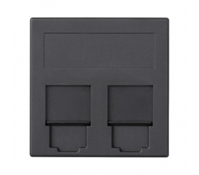 Plakietka teleinformatyczna SIMON 500 PANDUIT podwójna płaska z osłonami 50×50mm szary grafit 50019089-038
