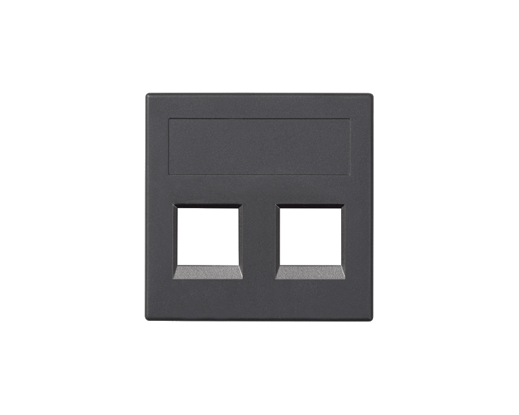Plakietka teleinformatyczna SIMON 500 PANDUIT podwójna bez osłon płaska 50×50mm szary grafit 50019189-038