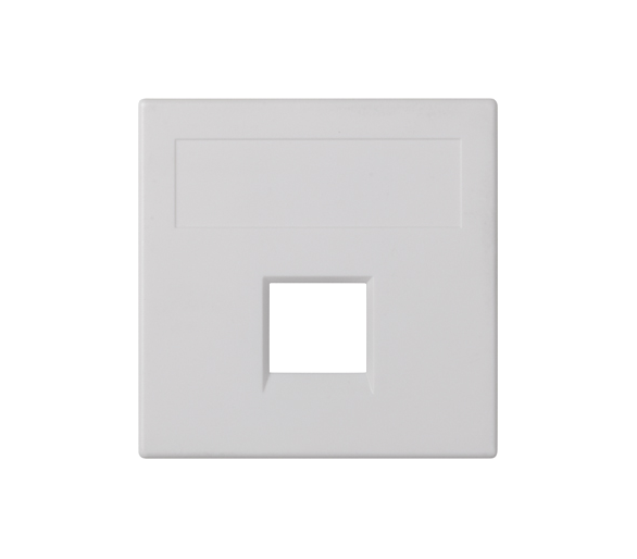 Plakietka teleinformatyczna SIMON 500 R&M pojedyncza bez osłon płaska 50×50mm czysta biel 50020185-030