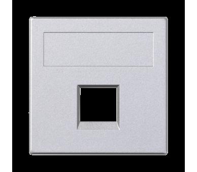 Plakietka teleinformatyczna SIMON 500 R&M pojedyncza bez osłon płaska 50×50mm aluminium 50020185-033