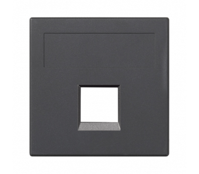 Plakietka teleinformatyczna SIMON 500 R&M pojedyncza bez osłon płaska 50×50mm szary grafit 50020185-038