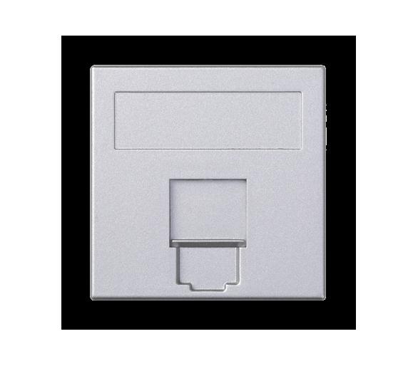 Plakietka teleinformatyczna SIMON 500 BELGENCDT pojedyncza płaska z osłoną 50×50mm aluminium 50013085-033