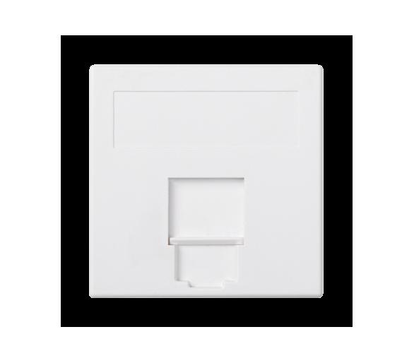 Plakietka teleinformatyczna SIMON 500 BELGENCDT pojedyncza płaska z osłoną 50×50mm czysta biel 50013085-030