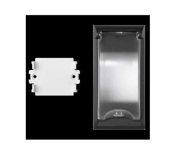 Płytka z pokrywą SIMON 500 do aparatury 2-polowej do puszek podłogowych 100×50mm szary grafit 50010074-038