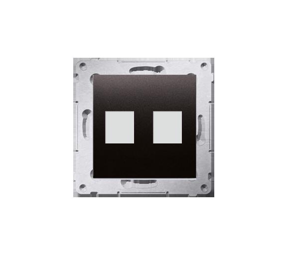 Pokrywa gniazd teleinformatycznych na Keystone płaska podwójna antracyt, metalizowany DKP2.01/48
