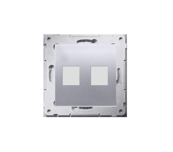 Pokrywa gniazd teleinformatycznych na Keystone płaska podwójna srebrny mat, metalizowany DKP2.01/43