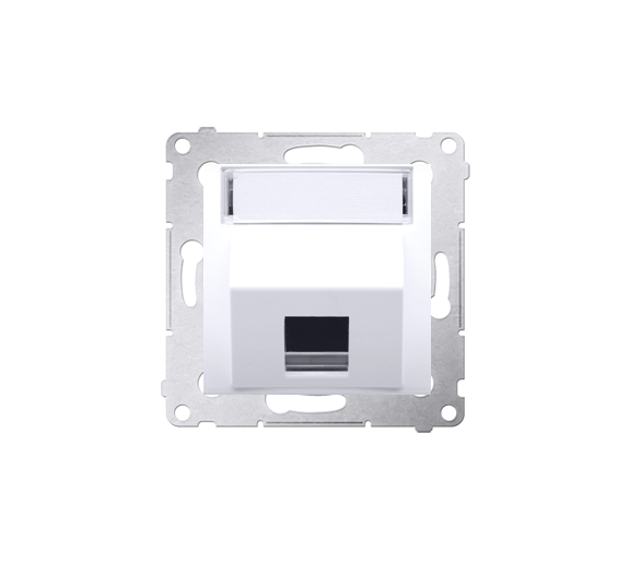 Pokrywa gniazd teleinformatycznych na Keystone skośna pojedyncza z polem opisowym biały DKP1S.01/11