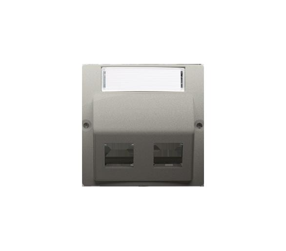 Pokrywa gniazd teleinformatycznych na PANDUIT, skośna podwójna z polem opisowym satynowy, metalizowany BMGPS2P.02/29
