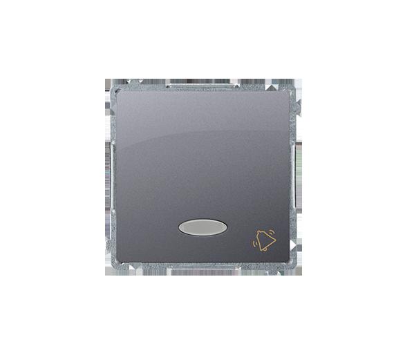 """Przycisk """"dzwonek"""" z podświetleniem LED nie wymienialny kolor: niebieski (moduł) 10AX 250V, szybkozłącza, inox, metalizowany BMD"""