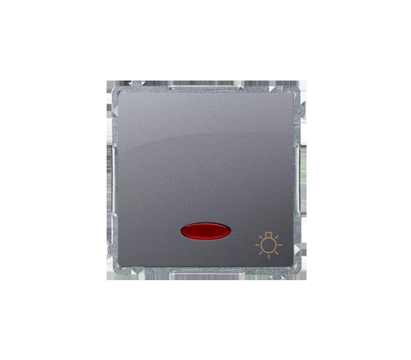 """Przycisk """"światło"""" z podświetleniem LED nie wymienialny kolor: niebieski (moduł) 10AX 250V, szybkozłącza, inox, metalizowany BMS"""
