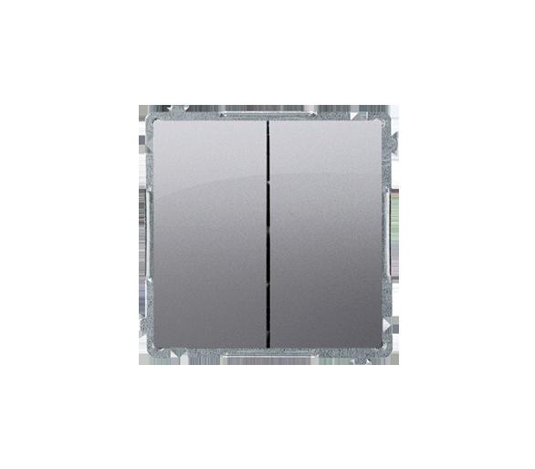 Przycisk podwójny zwierny bez piktogramu (moduł) 10AX 250V, szybkozłącza, inox, metalizowany BMP2.01/21