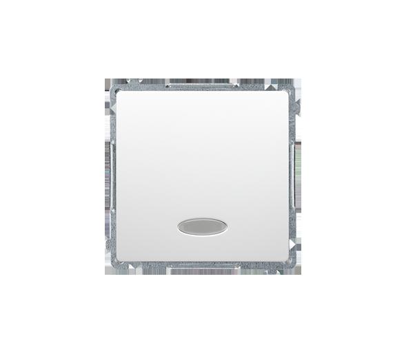 Przycisk pojedynczy zwierny z podświetleniem LED nie wymienialny kolor: niebieski (moduł) 10AX 250V, szybkozłącza, biały BMP1L.0
