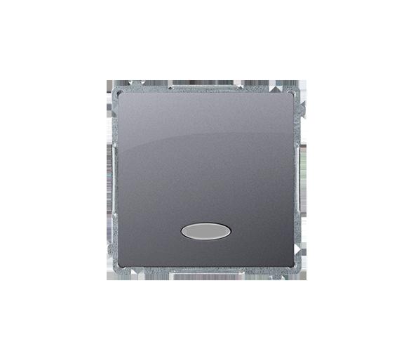 Przycisk pojedynczy zwierny z podświetleniem LED nie wymienialny kolor: niebieski (moduł) 10AX 250V, szybkozłącza, inox, metaliz