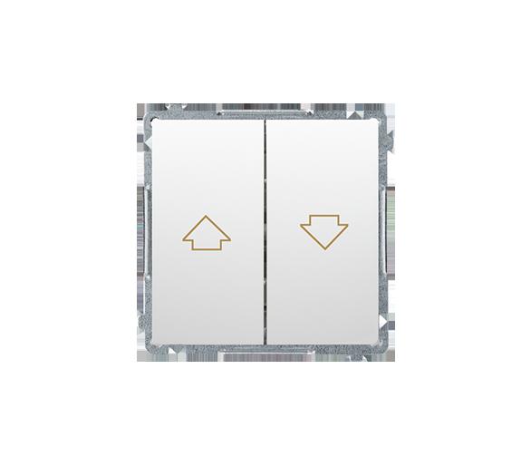 Przycisk żaluzjowy pojedynczy (moduł) 10A 250V, zaciski śrubowe, biały