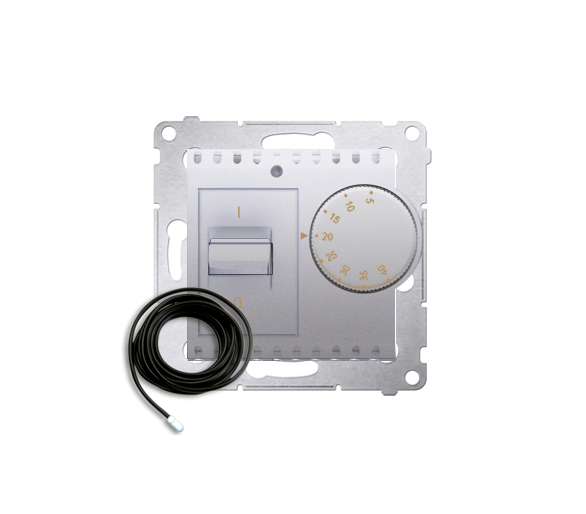 Regulator temperatury z czujnikiem zewnętrznym srebrny mat, metalizowany