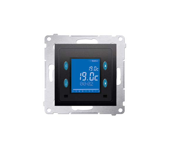Regulator temperatury z wyświetlaczem (czujnik wewnętrzny) antracyt, metalizowany D75817.01/48