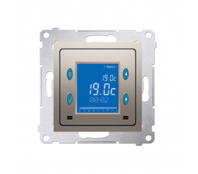 Regulator temperatury z wyświetlaczem (czujnik wewnętrzny) złoty mat, metalizowany D75817.01/44