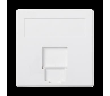 Plakietka teleinformatyczna SIMON 500 ITT CANNON pojedyncza płaska z osłoną 50×50mm czysta biel 50016085-030