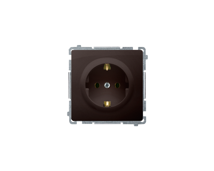 Gniazdo wtyczkowe pojedyncze z uziemieniem typu Schuko czekoladowy mat, metalizowany 16A BMGSZ1.01/47