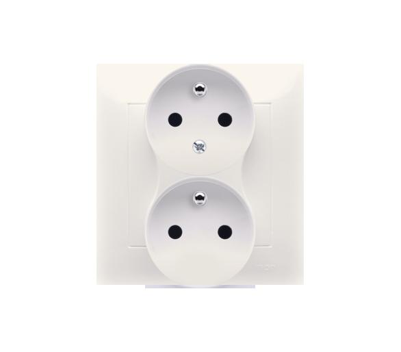 Gniazdo wtyczkowe podwójne z uziemieniem z funkcją niezmienności faz (kompletny produkt) 16A 250V, zaciski śrubowe, kremowy DGZ2