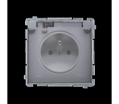 Gniazdo wtyczkowe pojedyncze w wersji IP44 z przesłonami torów prądowych -  klapka w kolorze transparentnym srebrny mat, metaliz