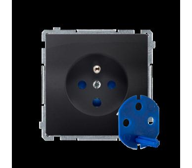 Gniazdo wtyczkowe pojedyncze DATA z kluczem uprawniającym grafit mat, metalizowany 16A BMGD1.01/28