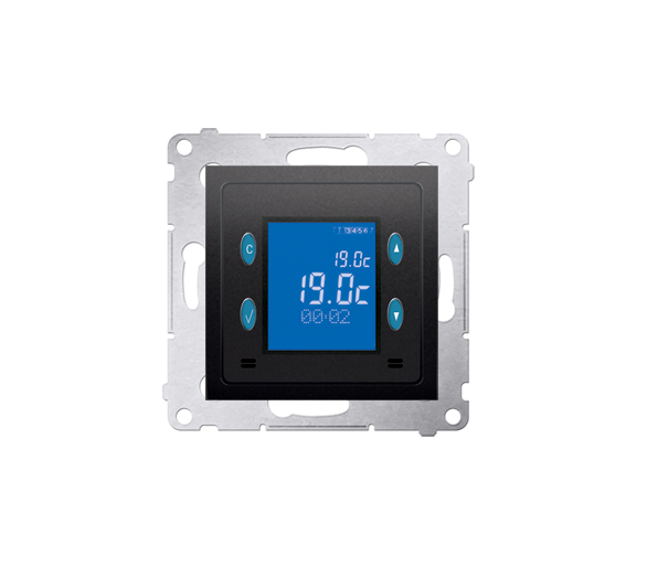 Regulator temperatury z wyświetlaczem (czujnik wewnętrzny) antracyt, metalizowany D75816.01/48