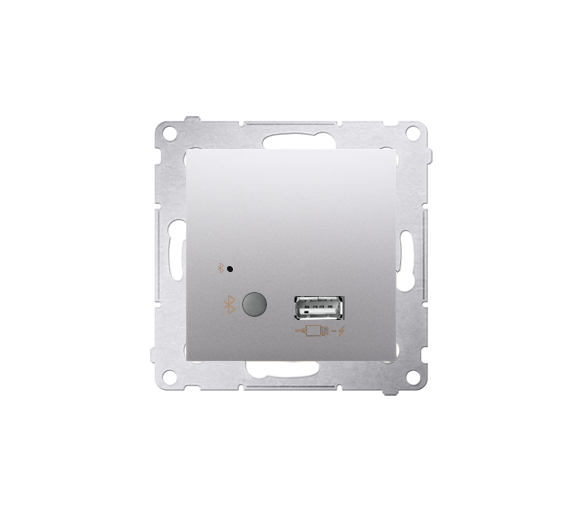 Odbiornik Bluetooth z ładowarką USB srebrny mat, metalizowany D7501385.01/43