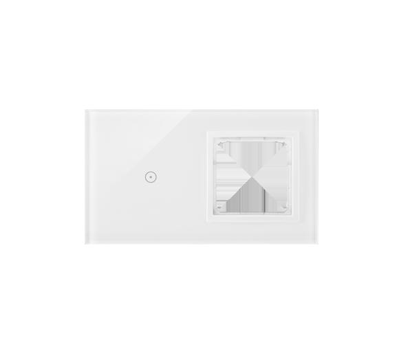 Panel dotykowy 2 moduły 1 pole dotykowe, otwór na osprzęt Simon 54, biała perła DSTR210/70