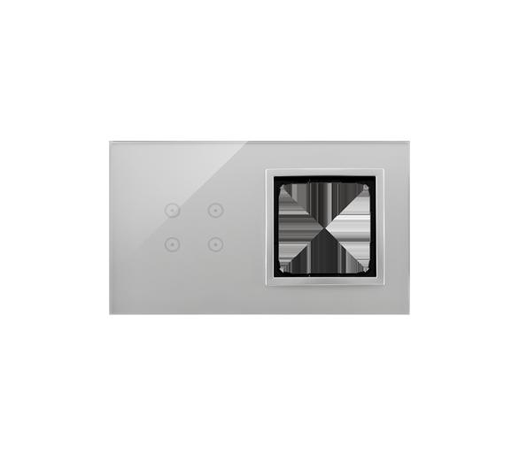 Panel dotykowy 2 moduły 4 pola dotykowe, otwór na osprzęt Simon 54, srebrna mgła DSTR240/71