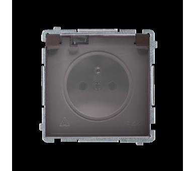 Gniazdo wtyczkowe pojedyncze w wersji IP44 z przesłonami torów prądowych -  klapka w kolorze transparentnym czekoladowy mat, met
