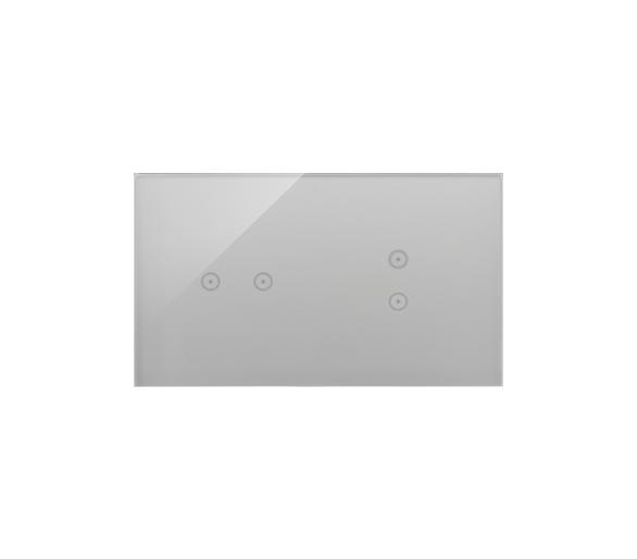 Panel dotykowy 2 moduły 2 pola dotykowe poziome, 2 pola dotykowe pionowe, srebrna mgła DSTR223/71