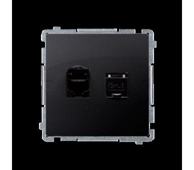 Gniazdo komputerowe podwójne ekranowane RJ45 kategoria 6, z przesłoną przeciwkurzową (moduł) grafit mat, metalizowany BM62E.01/2