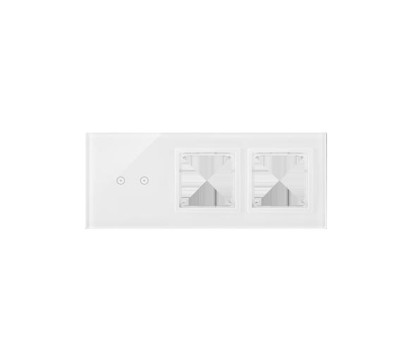 Panel dotykowy 3 moduły 2 pola dotykowe poziome, otwór na osprzęt Simon 54, otwór na osprzęt Simon 54, biała perła DSTR3200/70