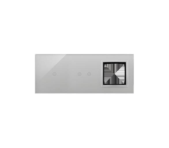 Panel dotykowy 3 moduły 1 pole dotykowe, 2 pola dotykowe poziome, otwór na osprzęt Simon 54, srebrna mgła DSTR3120/71