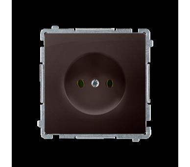 Gniazdo wtyczkowe podjedyncze bez uziemienia z przesłonami torów prądowych czekoladowy mat, metalizowany 16A BMG1Z.01/47