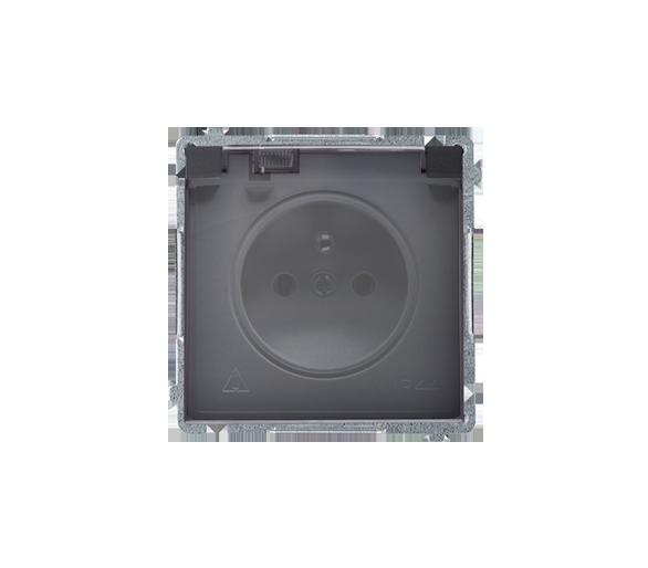 Gniazdo wtyczkowe pojedyncze w wersji IP44 -  klapka w kolorze transparentnym grafit mat, metalizowany 16A BMGZ1B.01/28A