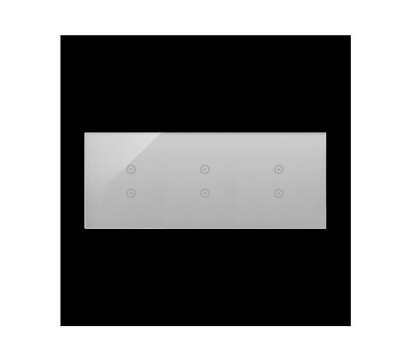 Panel dotykowy 3 moduły 2 pola dotykowe pionowe, 2 pola dotykowe pionowe, 2 pola dotykowe pionowe, srebrna mgła DSTR3333/71