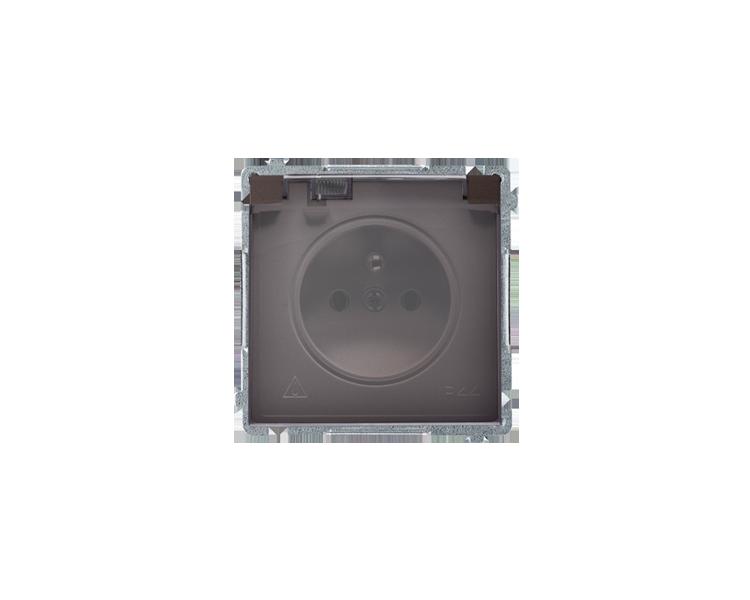 Gniazdo wtyczkowe pojedyncze w wersji IP44 -  klapka w kolorze transparentnym czekoladowy mat, metalizowany 16A BMGZ1B.01/47A