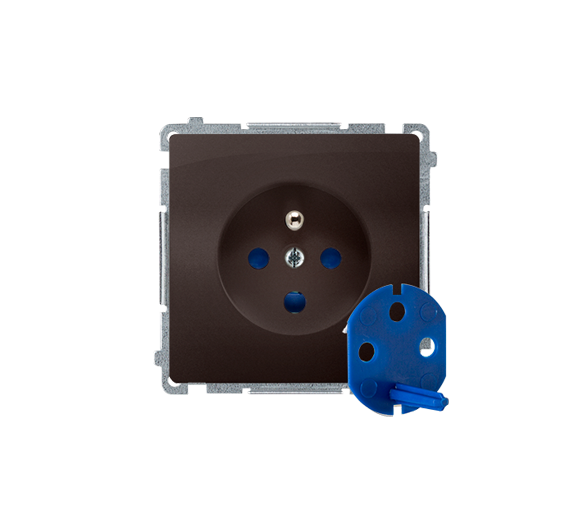 Gniazdo wtyczkowe pojedyncze DATA z kluczem uprawniającym czekoladowy mat, metalizowany 16A BMGD1.01/47